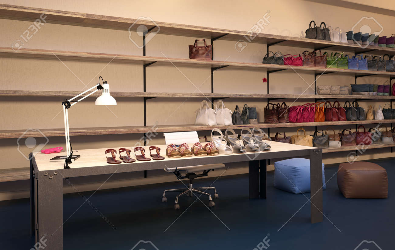 Interior Of Upscale Clothing Store With Wood Wall Paneling Plush