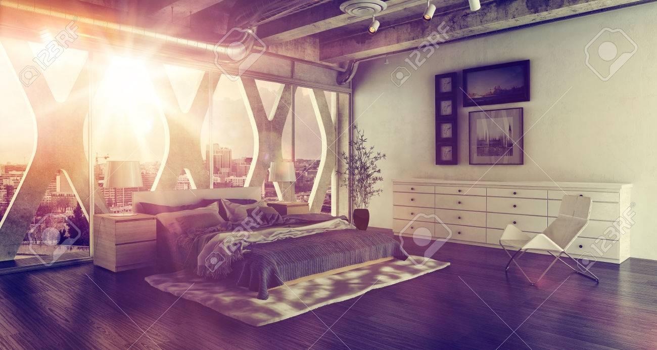 interni moderni camera da letto soppalco con letto matrimoniale ... - Camera Da Letto Matrimoniale Soppalco