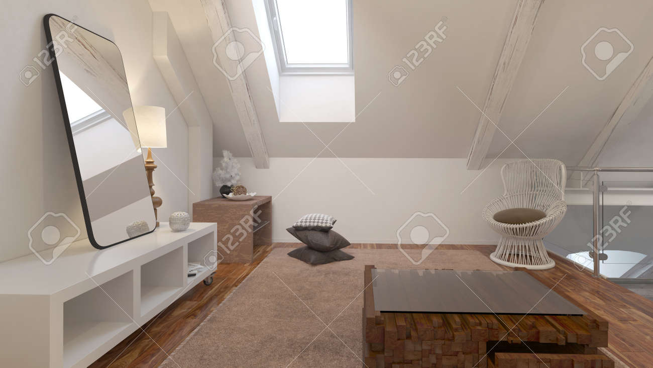 Living room interior with comfortable chair under a roof slope...