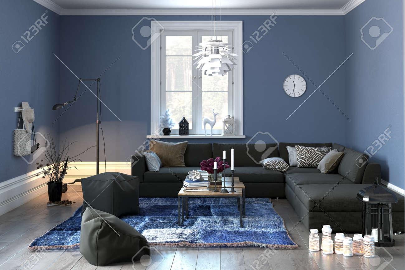 interno di una moderna sala o soggiorno in arredamento grigio e ... - Soggiorno Bianco E Blu