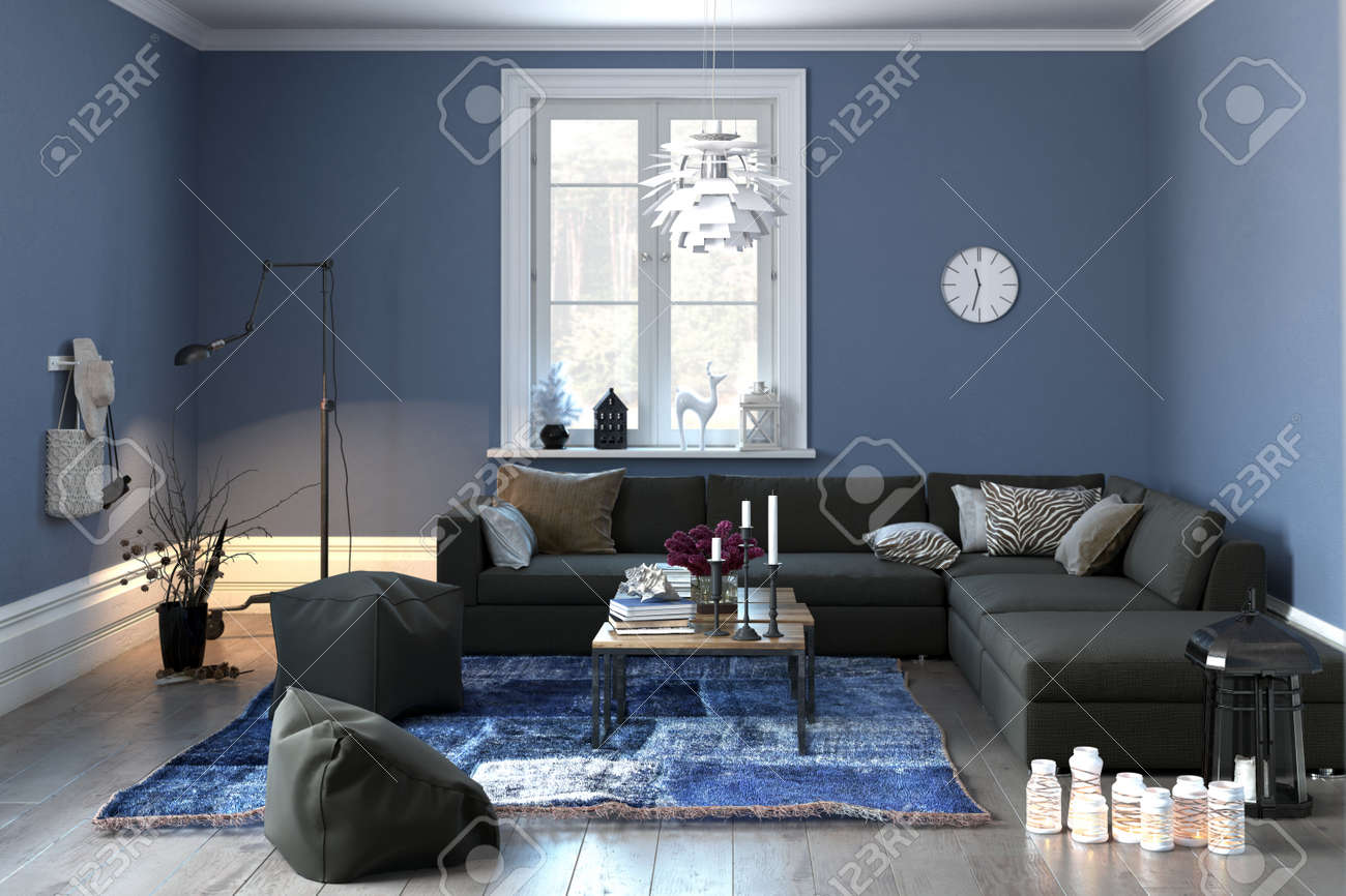 Interior of a modern lounge or living room in grey and blue decor with a comfortable couch and pouffe and single central window. 3d rendering. Standard-Bild - 50410119