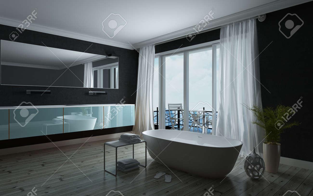 Stilvolle Schwarze Und Weiße Badezimmer Interieur Mit Einer