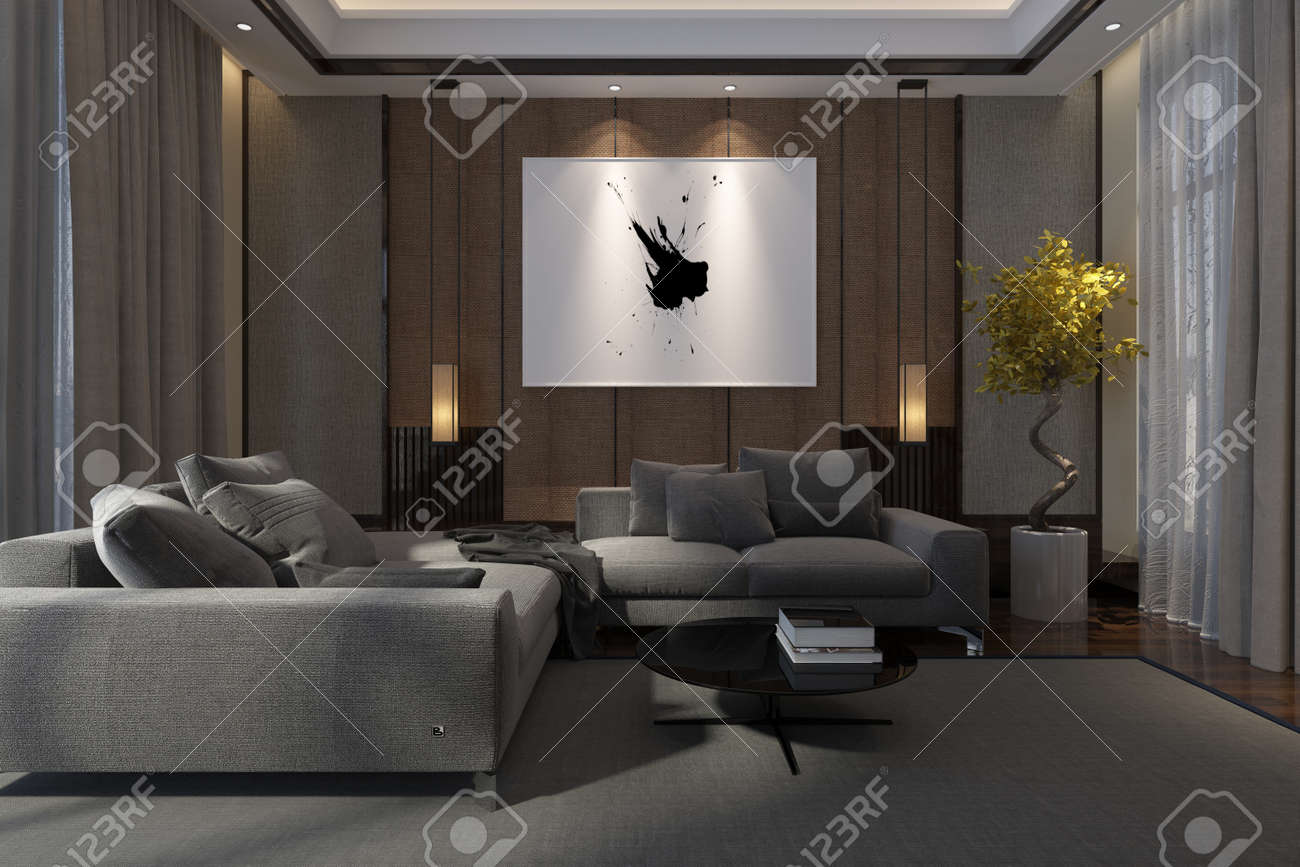 Cozy Luxury Living Room Interior At Night With Comfortable Lounge Suite Drawn Drapes And Artwork