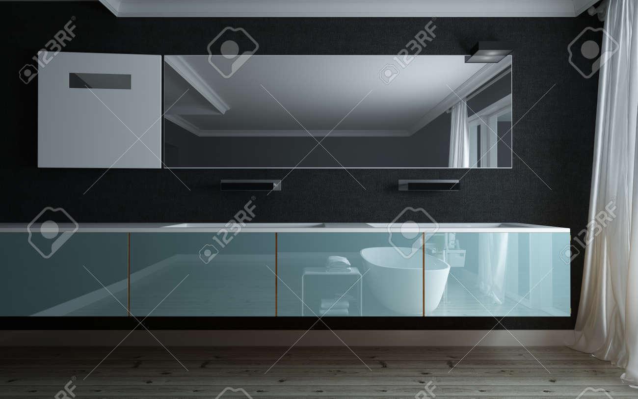 Vasca Da Bagno Nera : Immagini stock vasca da bagno alla moda in un bagno di lusso