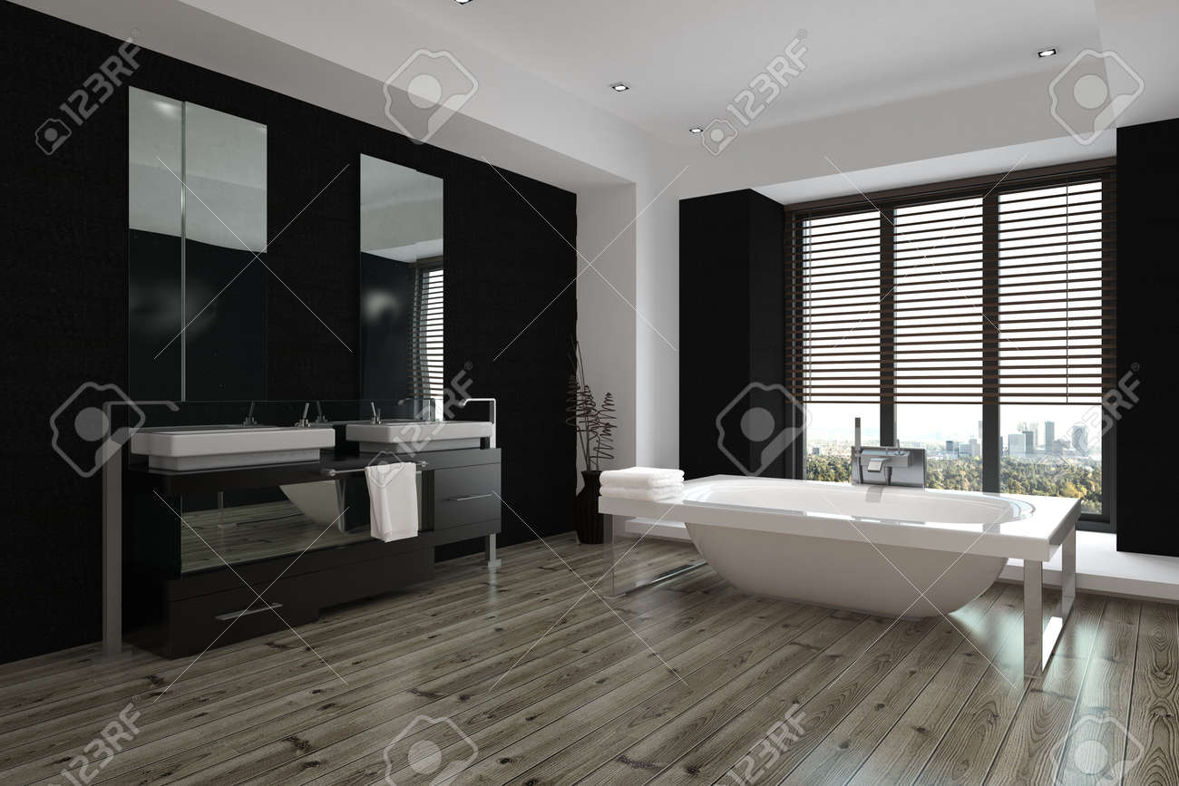 Spacious modern black and white bathroom interior with double vanities and a mirror along one wall, a freestanding tub and wooden parquet floor, 3d rendering Standard-Bild - 50428948