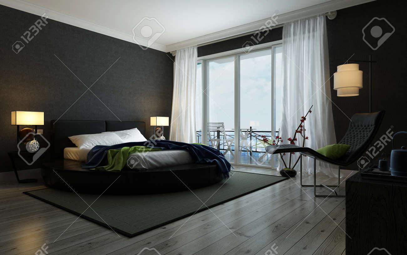 intrieur de la chambre noire et blanche moderne illumin par des lampes avec un lit double un fauteuil inclinable contemporain et des fentres du sol au