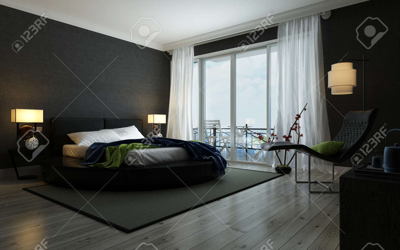 Modern Black And White Bedroom Interior Illuminated By Lamps Stock Photo Picture And Royalty Free Image Image 50410277