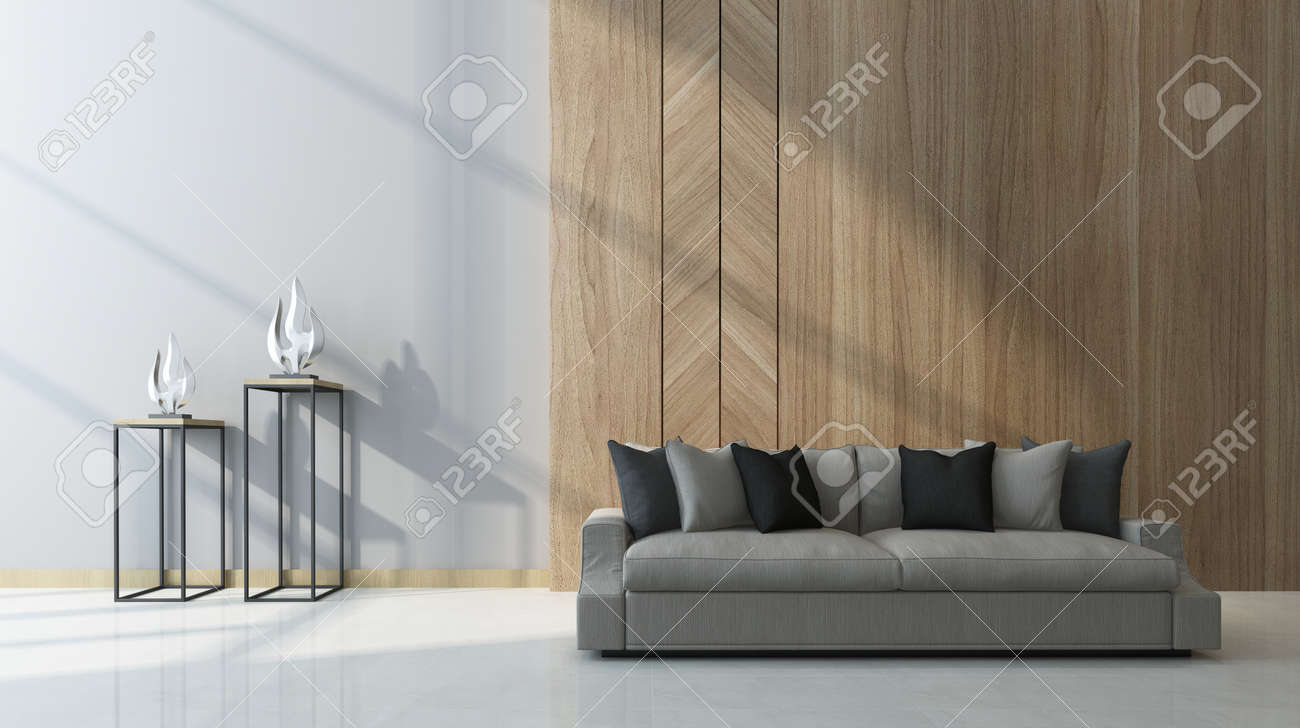 Modern Living Room With Wood Paneling As A Feature On The Wall Behind A  Comfortable Generic