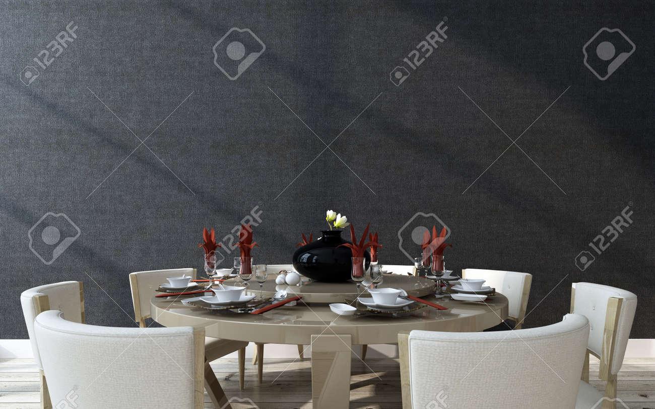 Légant Table Circulaire Officielle De Réglage Avec Un Design Moderne, Salle  à Manger Prévue Avec Vaisselle, Linge De Maison Et Des Verres Autour Du0027un  ...