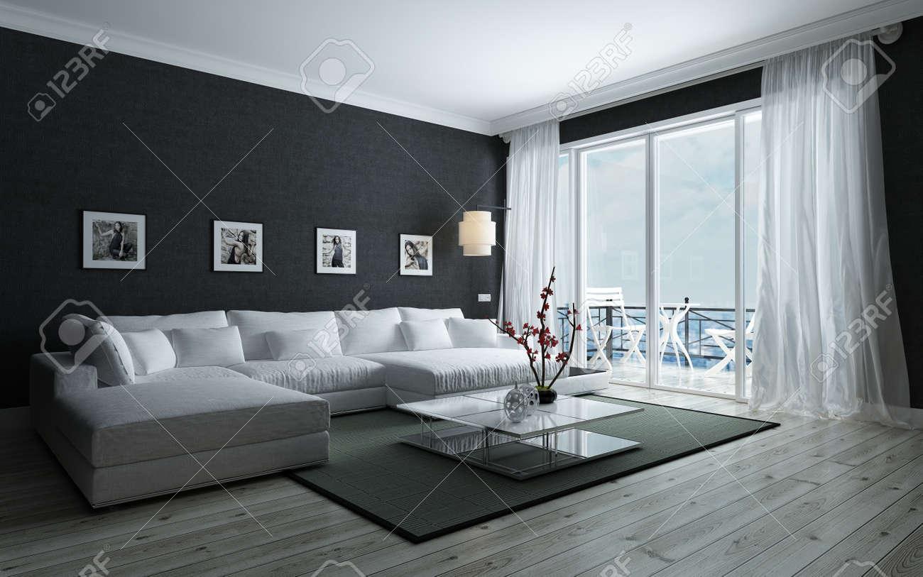 contemporaneo in bianco e nero soggiorno con elegante arredamento ... - Arredamento Soggiorno Bianco E Nero