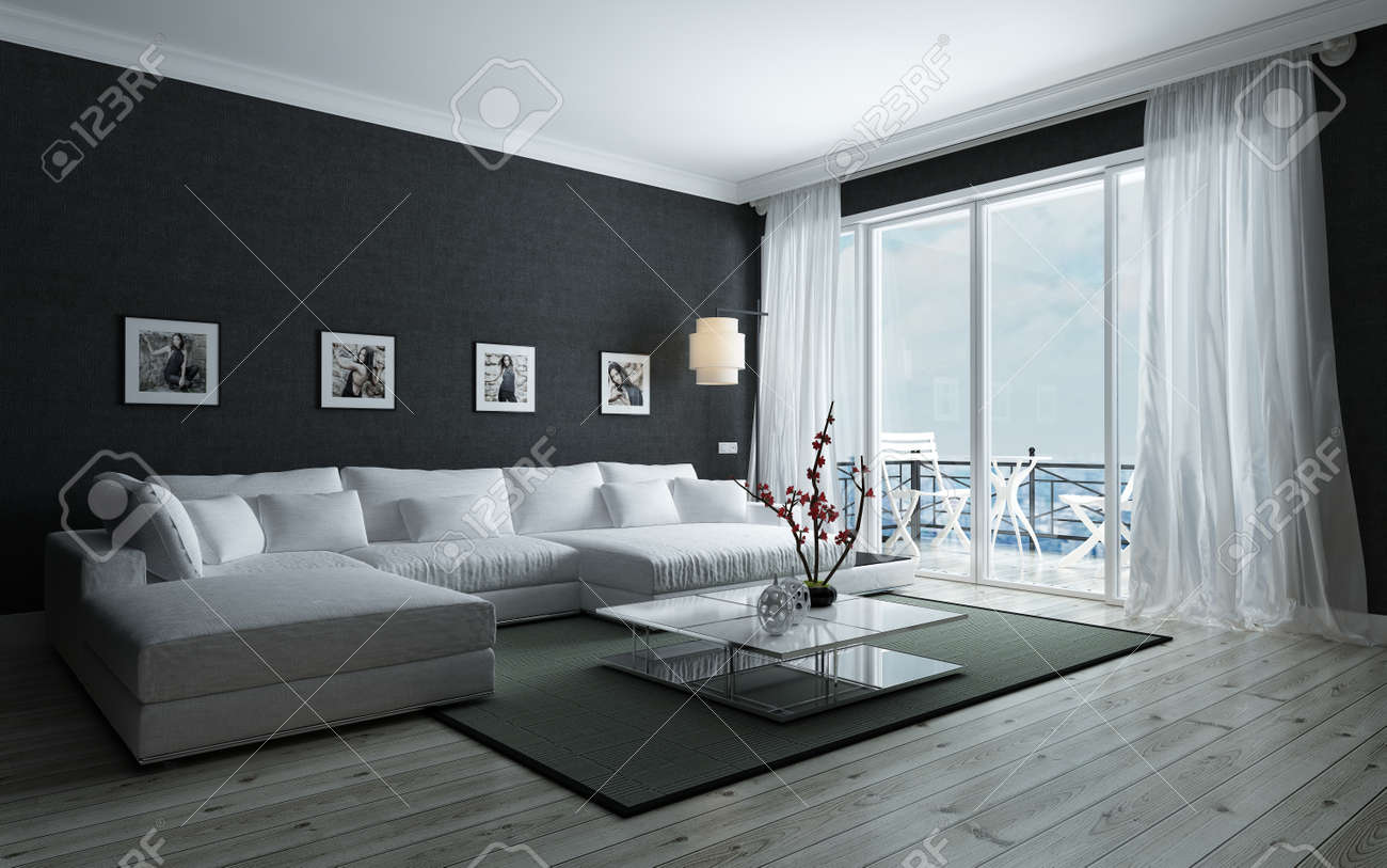 Contemporary black and white living room with stylish interior decor an upholstered lounge siite and