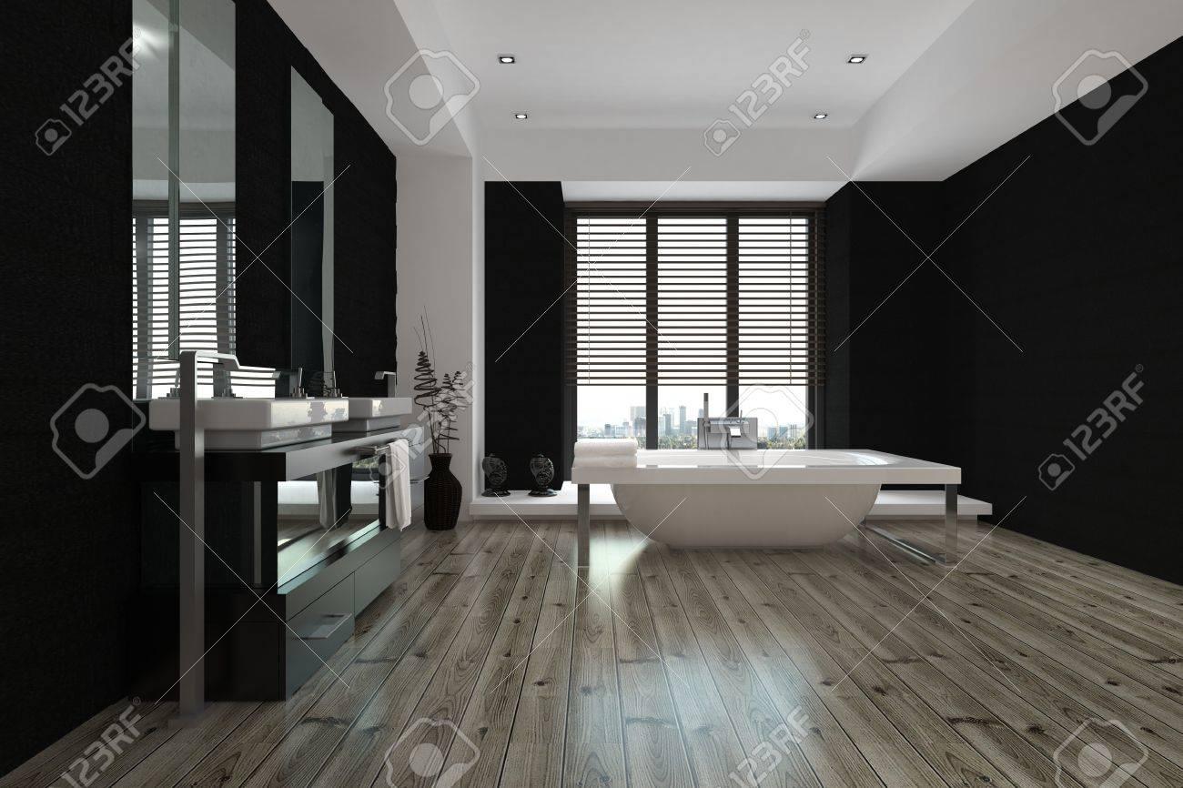 Salle De Bain En Longueur grand intérieur spacieux de salle de bain noir et blanc avec une baignoire  autoportante et muraux vanités et miroir, voir en bas de la longueur du