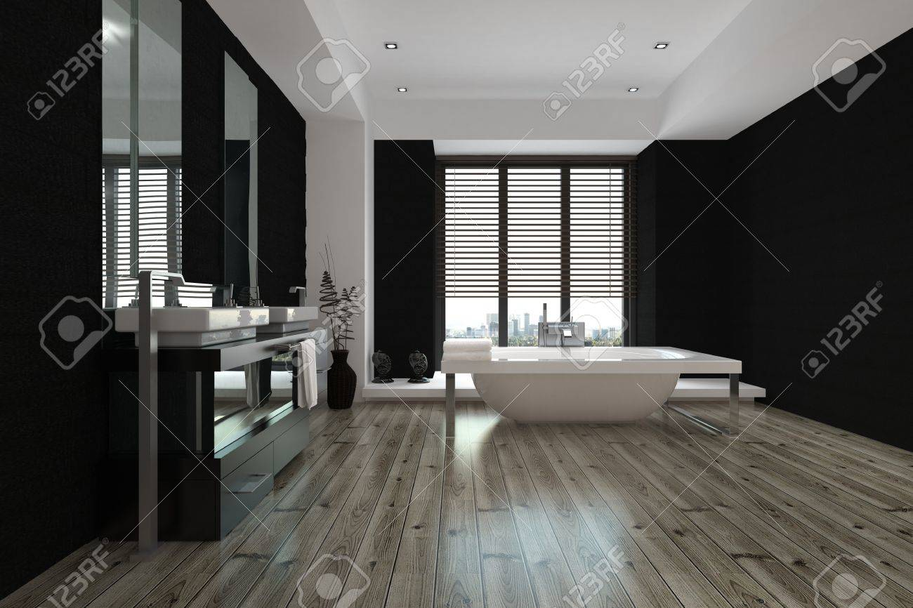 Vasca Da Bagno Enorme grande interno spazioso in bianco e nero bagno con vasca freestanding e  vanità a parete e specchio, visualizzare tutta la lunghezza del pavimento  in