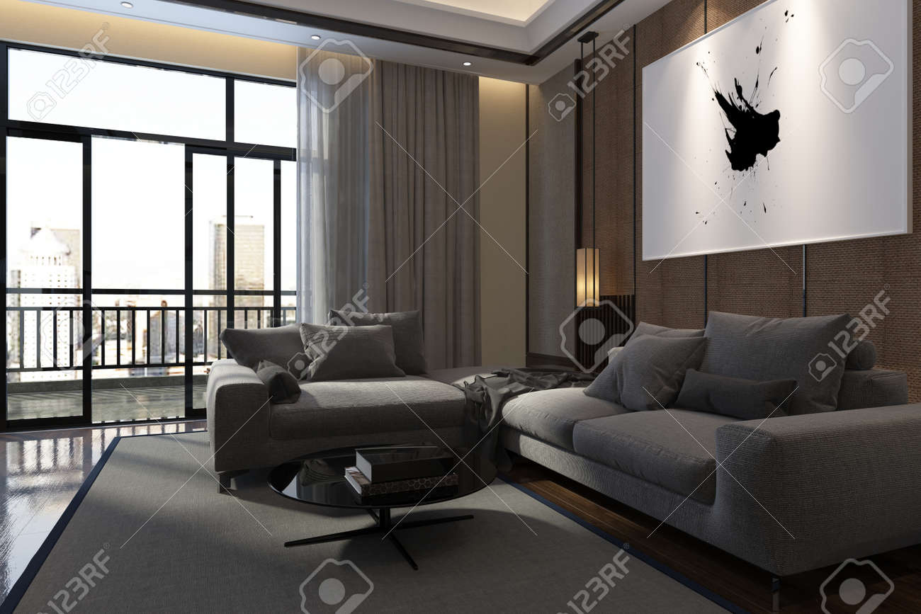 Luxury Living Room Interior With Large Comfortable Upholstered