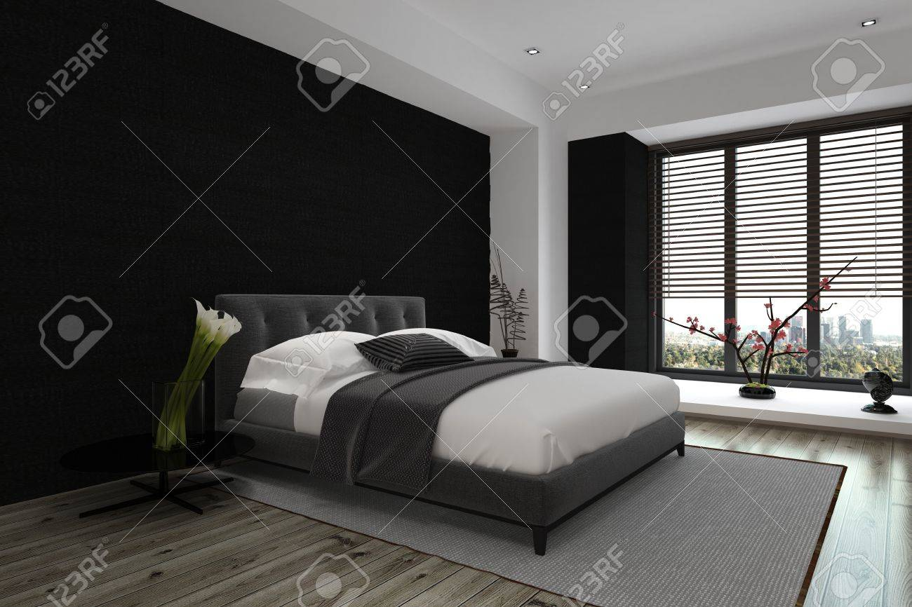 Modern Architectural Interior Design of a Spacious Master Bedroom in Gray and White Color Combination. Standard-Bild - 50410368