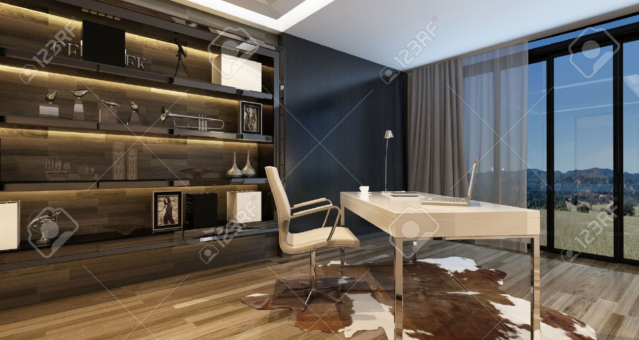 elegant home office. Elegant Home Office Interior With A Modern Desk Overlooking Large Windows View Onto Countryside I