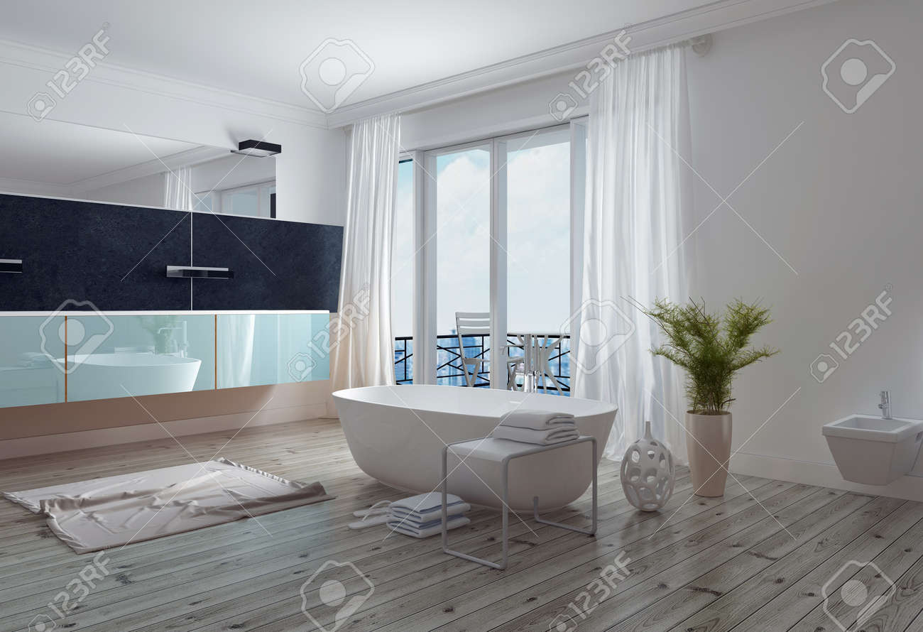 Modern Stylish White Bathroom With A Free Standing Bathtub, Long ...