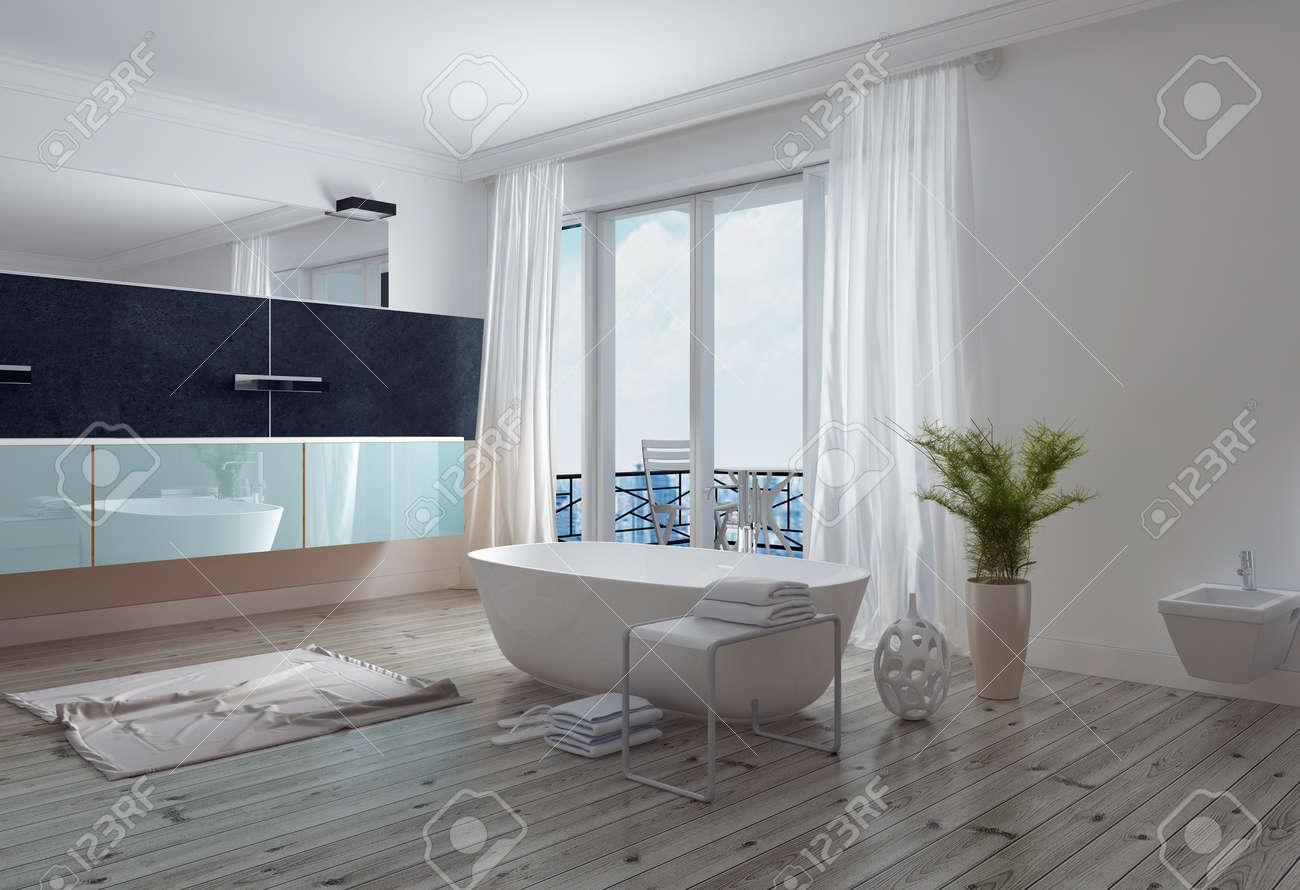banque dimages salle de bain blanc moderne avec une baignoire sur pied long miroir mural et vanit et fentres du sol au plafond menant un patio - Miroir Mural Salle De Bain