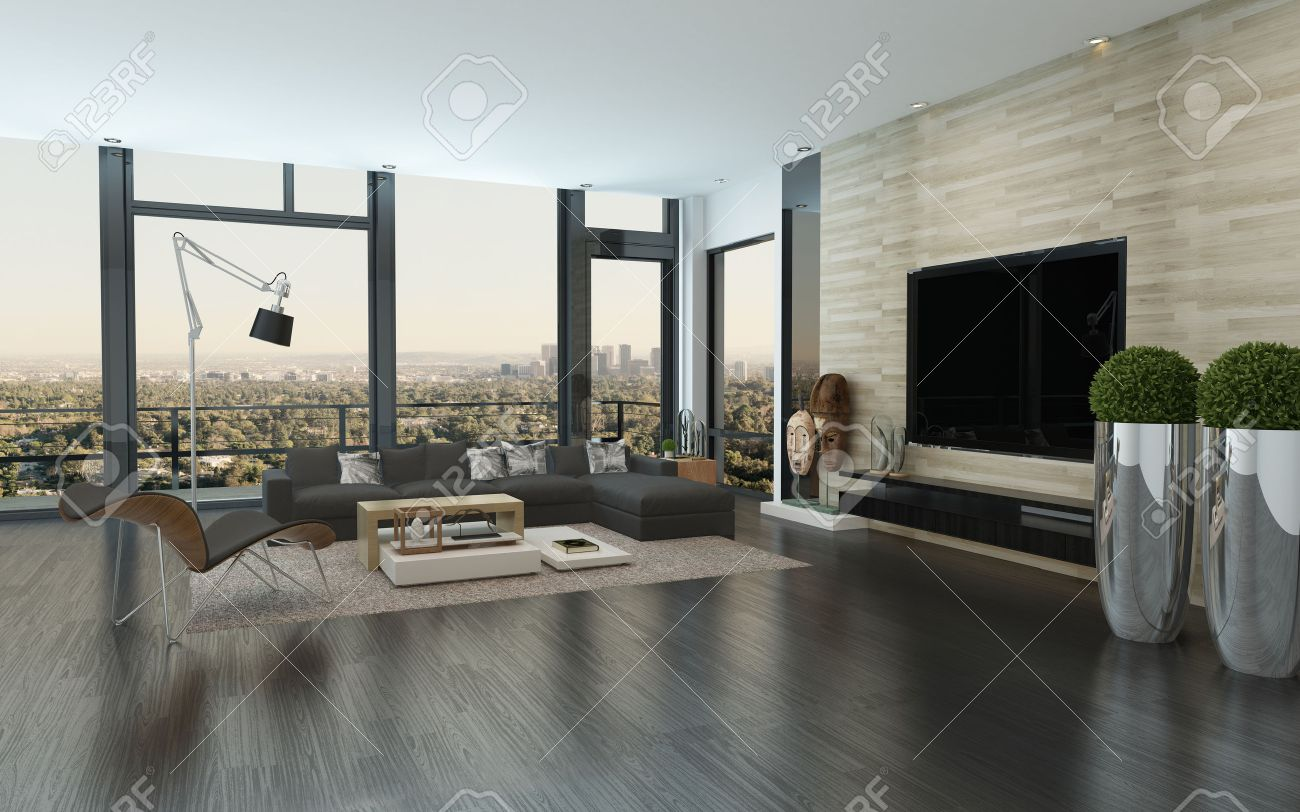 Merveilleux Modern Urban Living Room Interior With Large View Windows Overlooking The  City, Potted Plants,