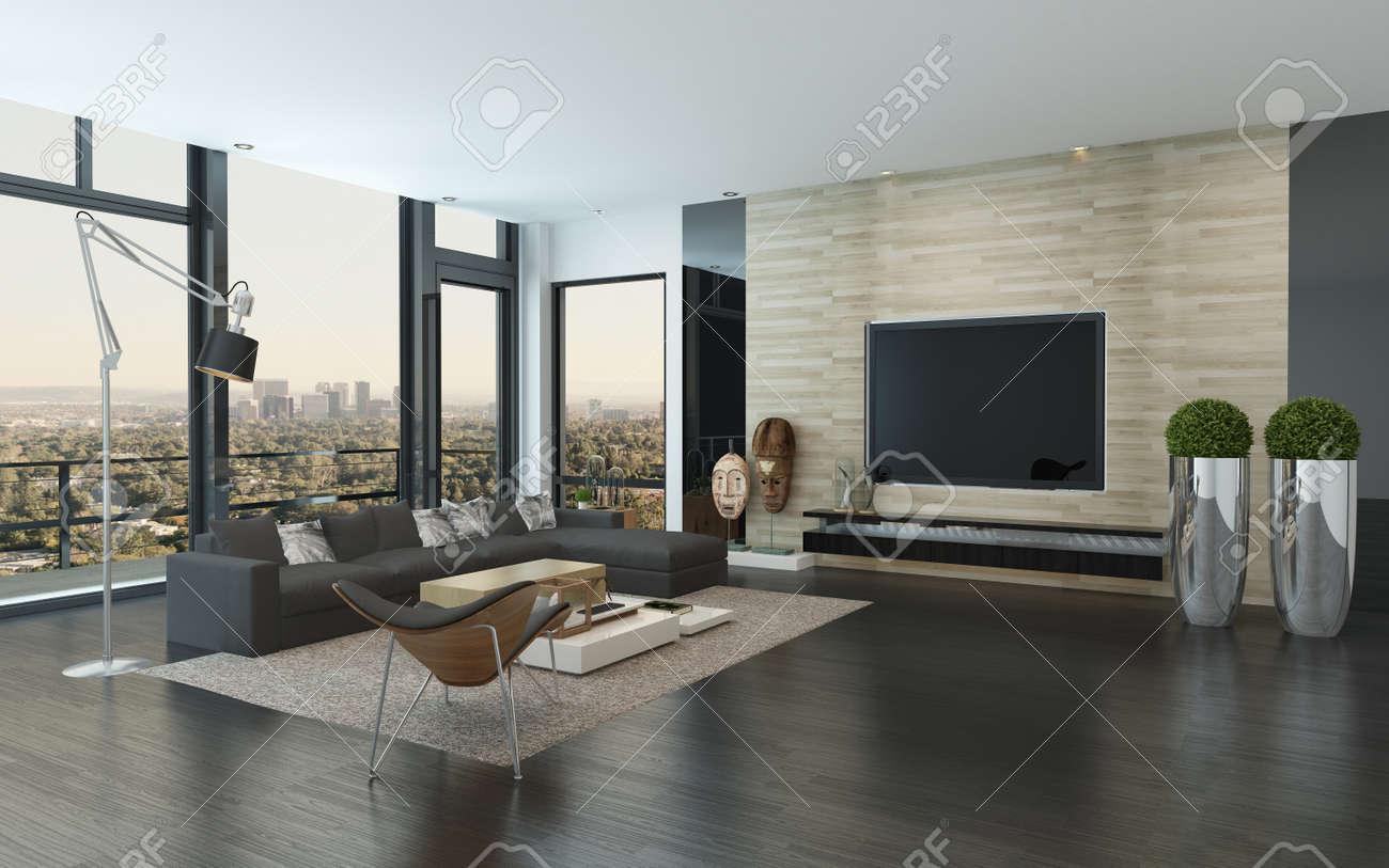 Spacieux salon moderne avec gris foncé et décor blanc surplombant la ville  à travers les fenêtres panoramiques du sol au plafond, 3d render ...