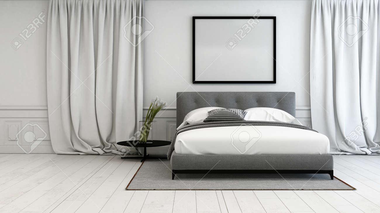 chambre de luxe avec un dcor intrieur gris et blanc avec un lit double entre la longueur long tage ferm les rideaux sur un fond blanc peint plancher