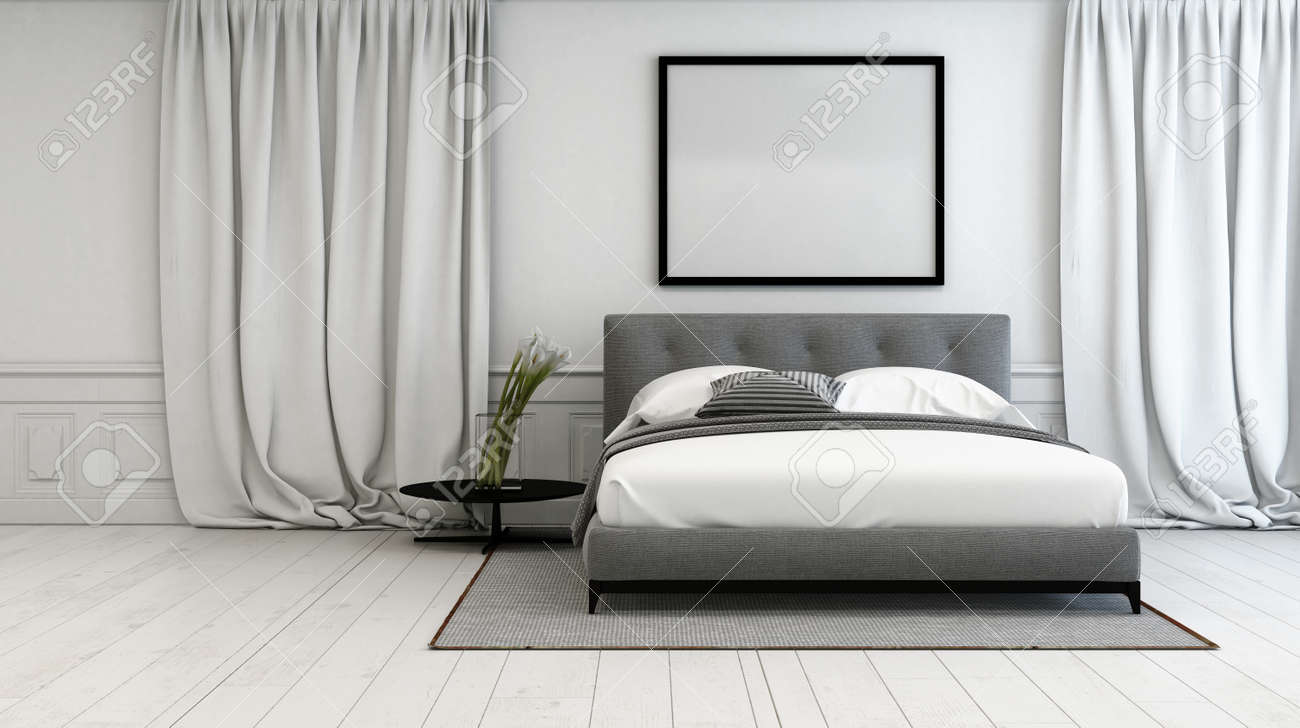 Luxury Bedroom With Grey And White Interior Decor With A Double ...