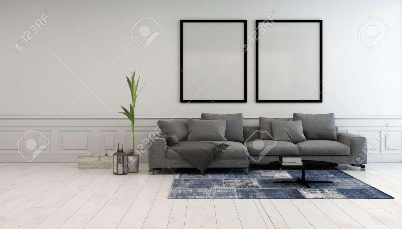 Charmant Minimalist Grau Und Weiß Wohnzimmer Innenraum Mit Einem Bequemen  Polsterliege Unter Zwei Großen Leeren Bilderrahmen Auf