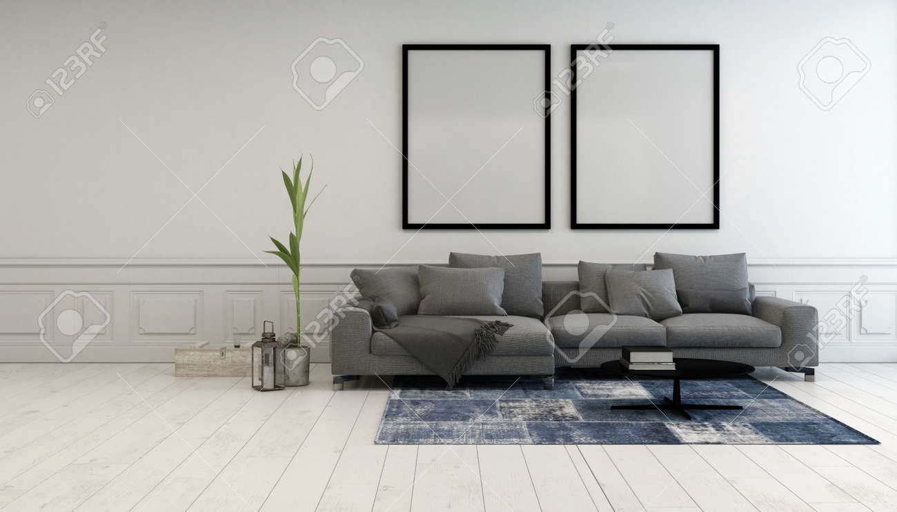 Minimalist grey and white living room interior with a comfortable upholstered couch below two large empty picture frames hanging on a white wall, 3d rendering Standard-Bild - 52464725