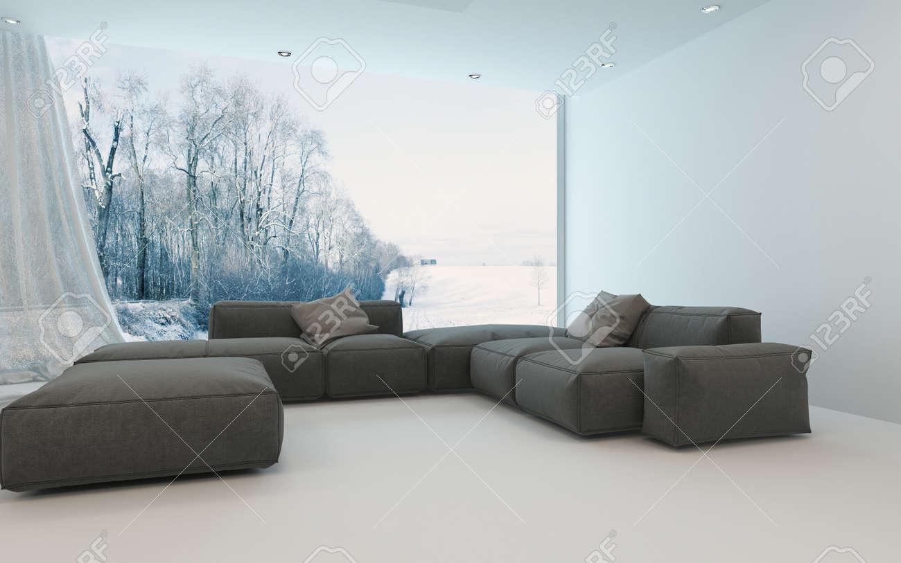 Bequeme Kühle Helle Wohnzimmer-Interieur Mit Gepolsterten Sofas In ...