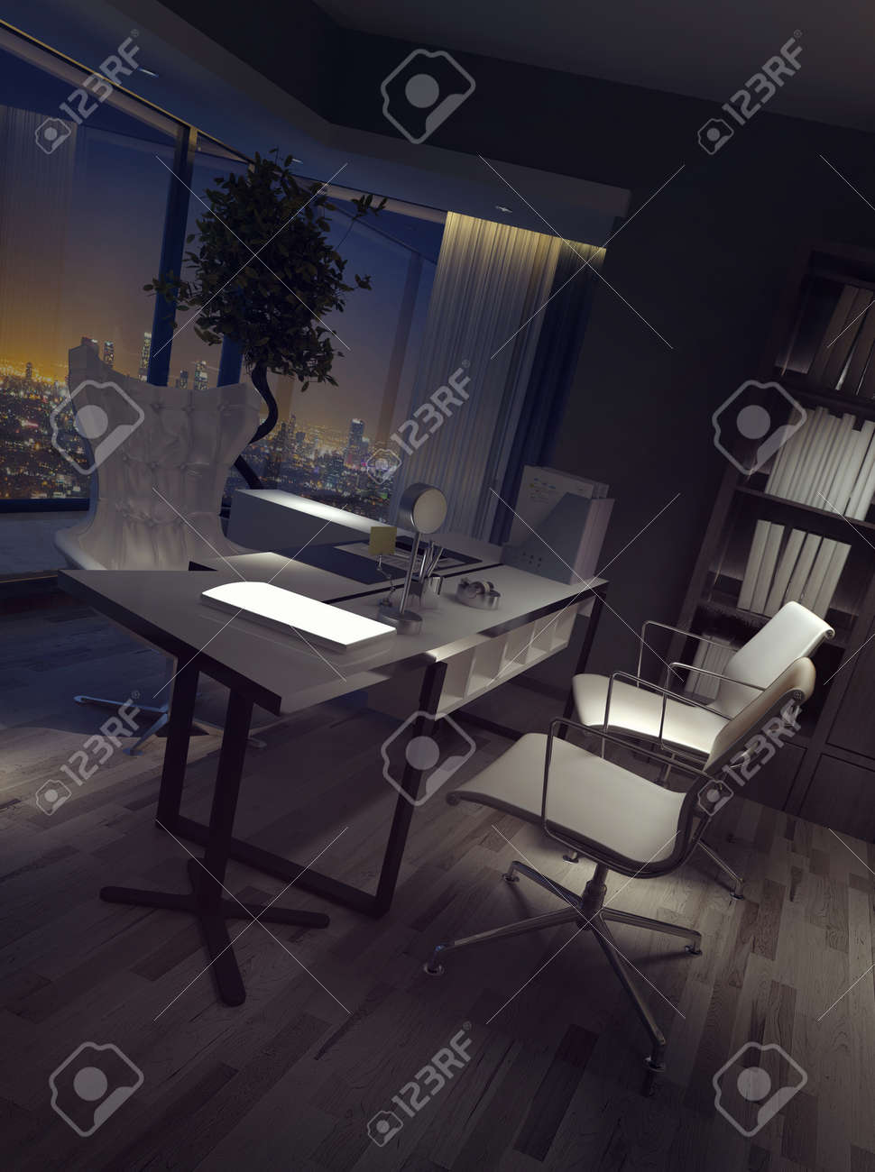 Darkened empty luxury home office interior at night with a high..