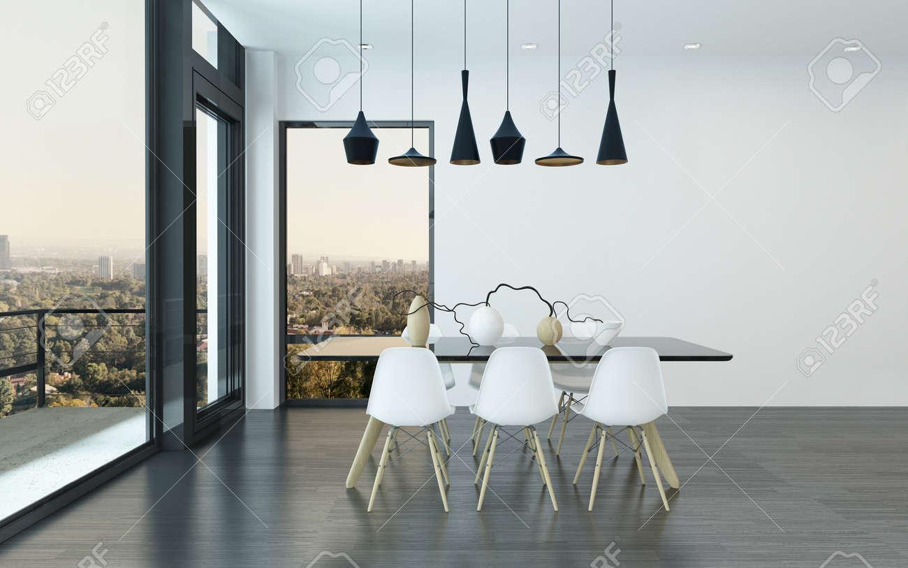 Comedor contemporáneo en una sala de estar con cuatro luces del techo  elegantes encima de una mesa y sillas con enormes ventanas de vista con  vistas ...