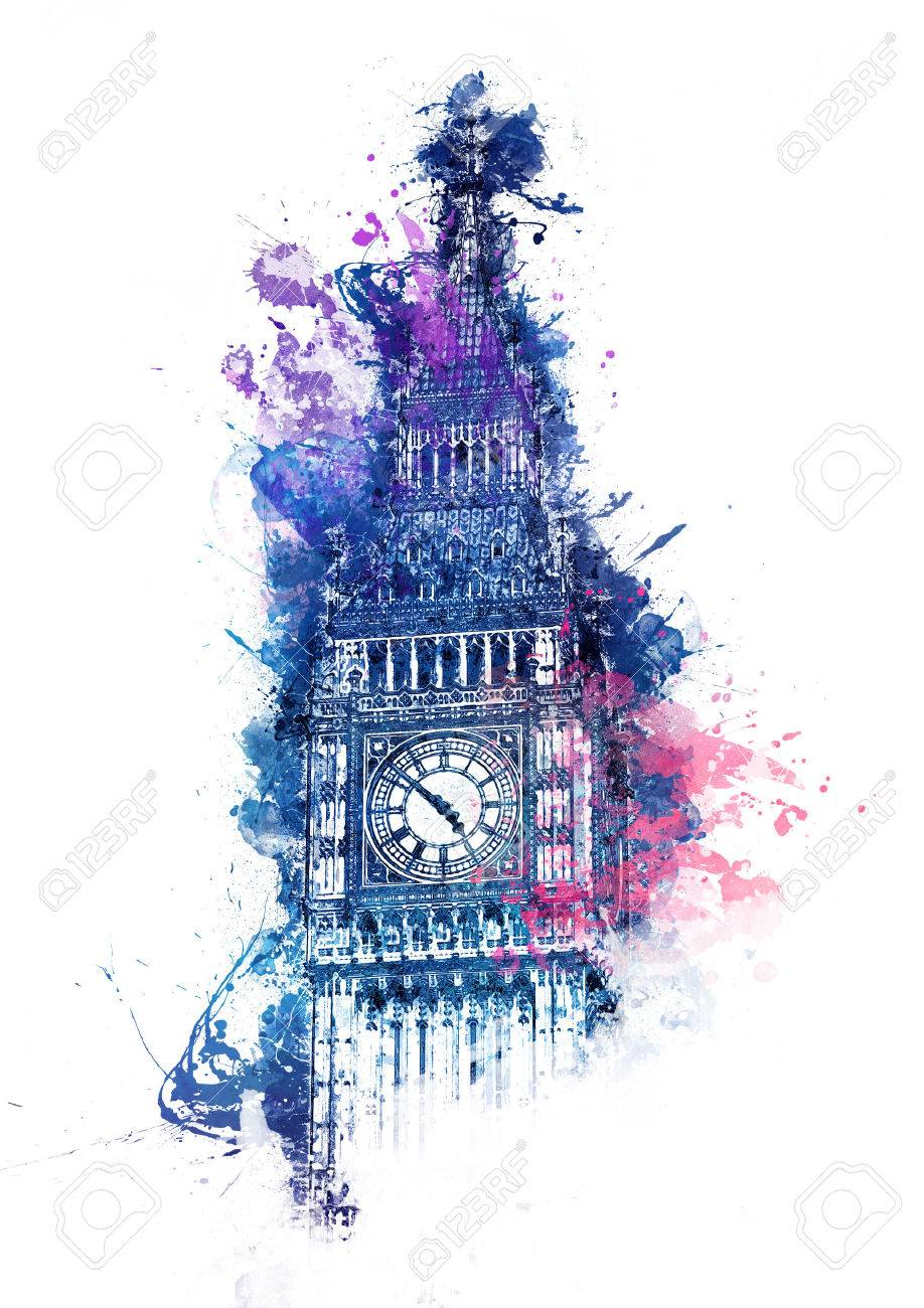 colorful watercolor painting of big ben clock tower in westminster
