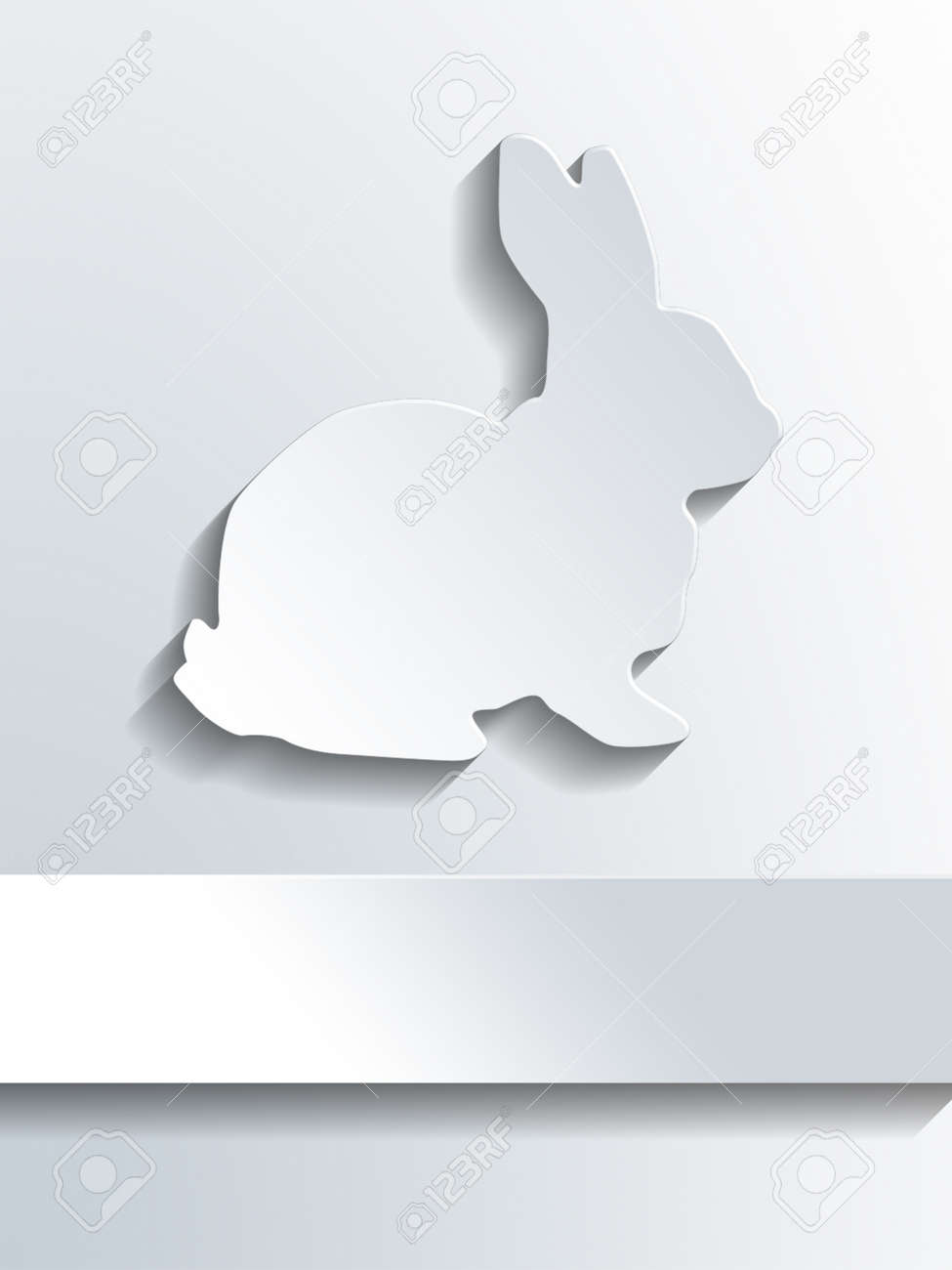 Cute Bunny Rabbit Symbol Profile Shape Above Blank Label With Copy