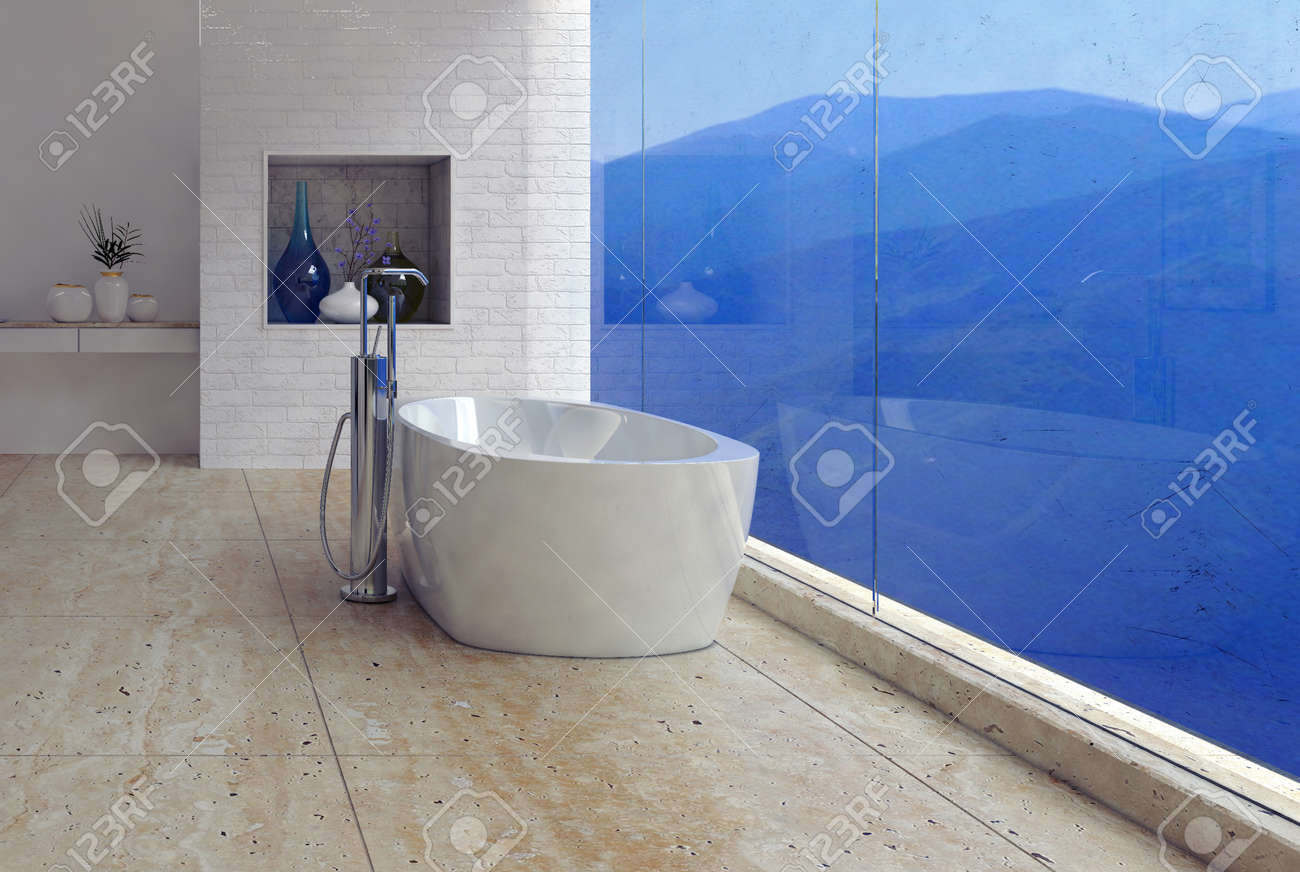 Freestanding Bathtub With A Panoramic Mountain View Through A ...