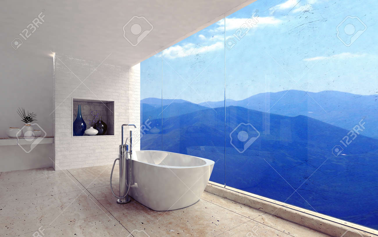Luxury Modern Bathroom Interior With A Free Standing Tub Overlooking ...