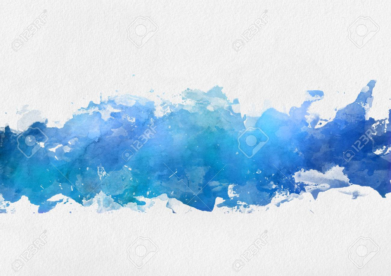 artistic blue watercolor splash effect template with a band of