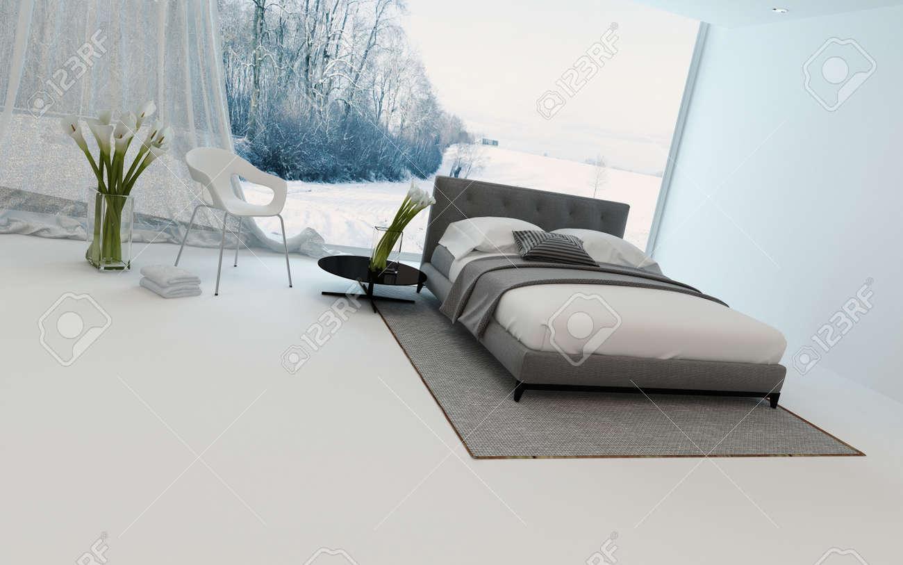Moderne Kuhle Schlafzimmer Interieur Mit Frischen Arums Und Ein