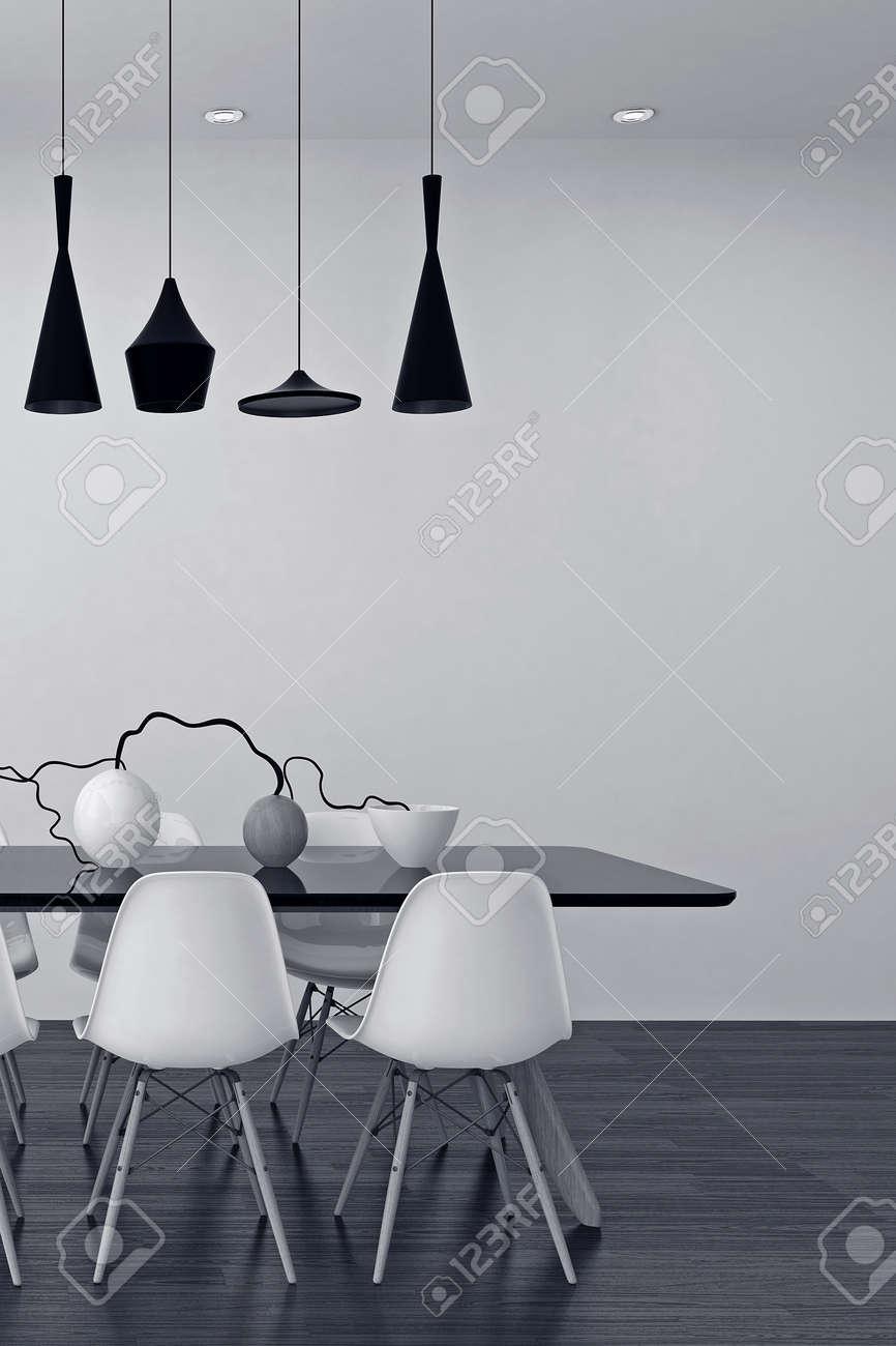 Moderne schwarze und weiße esszimmer interieur mit einer eleganten reihe von lampen über einem tisch mit