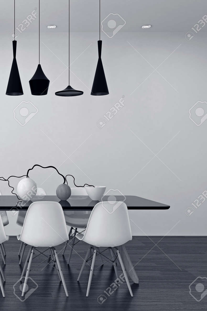 Modern black and white dining room interior with an elegant row of lamps above a table with modular chairs and a stylish center piece of vases and twigs, 3d render Standard-Bild - 52465151