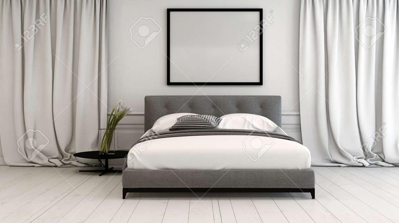 Intérieur Moderne De Chambre Dans Des Tons Neutres Avec Un Lit De ...
