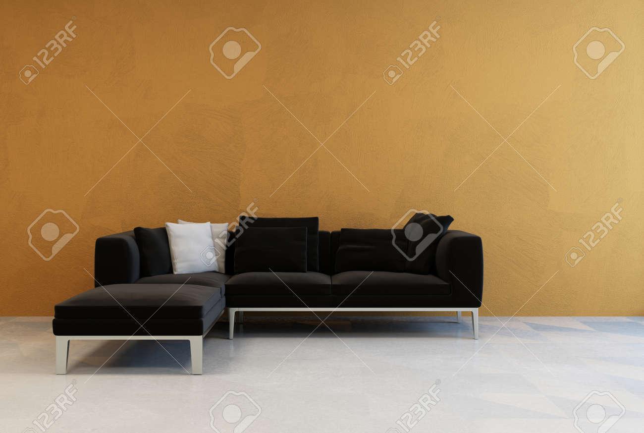 decoraciones de esquina para sala de estar Simple Moderno Sof De Esquina Negro En Una Pared De Color Marrn En Una Sala De Estar Sin Decoracin Minimalista Con Un Suelo De Parquet Pintado De