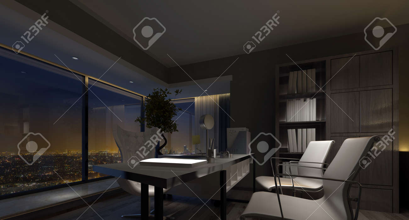 Spacious Luxury Home Office Interior At Night With Dim Lighting  Highlighting The Table And Chairs And