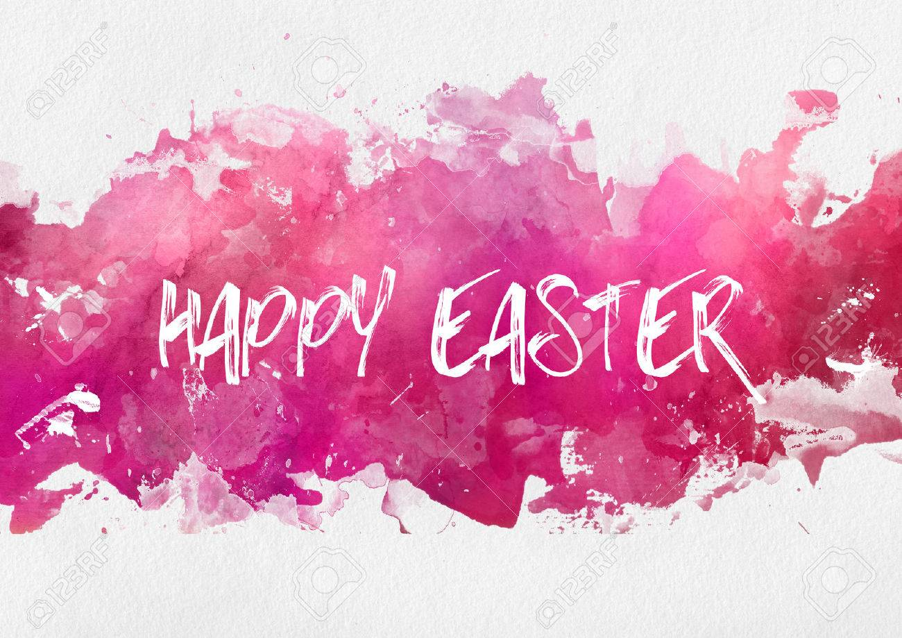 Happy easter wishes stock photos royalty free business images colorful pink happy easter design template on an abstract band of hand painted watercolor paint with kristyandbryce Images