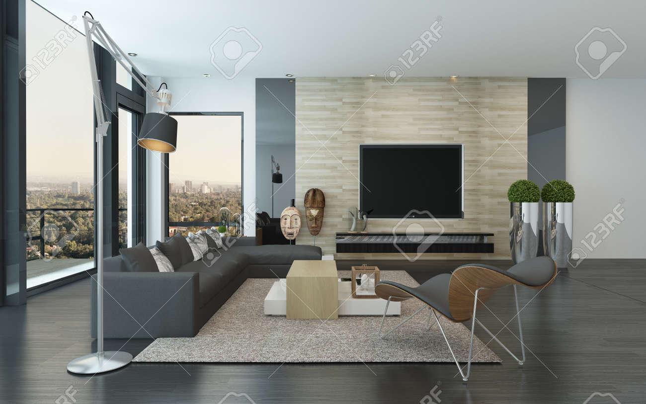 Komfortable Geräumige, Moderne Wohnzimmer Innenraum Mit Großem Sichtfenster  Mit Blick Auf Die Stadt Und Eine