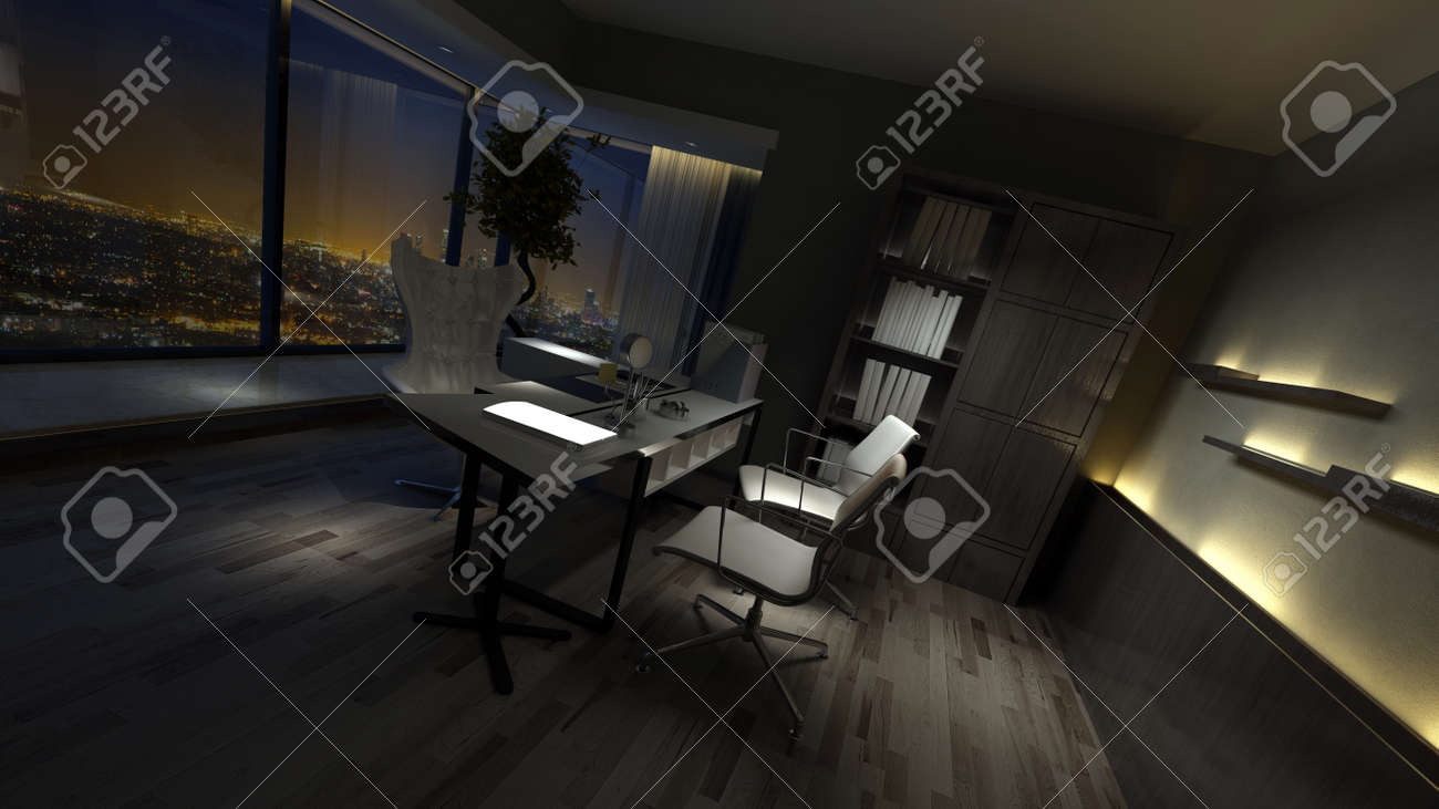 Por Ventana Frente Oscuro Iluminado Sillas Interior Laterales Y Con Poco En Casa Vacío Luces Vista Mesa De Una Oficina Estilo HWE2I9D