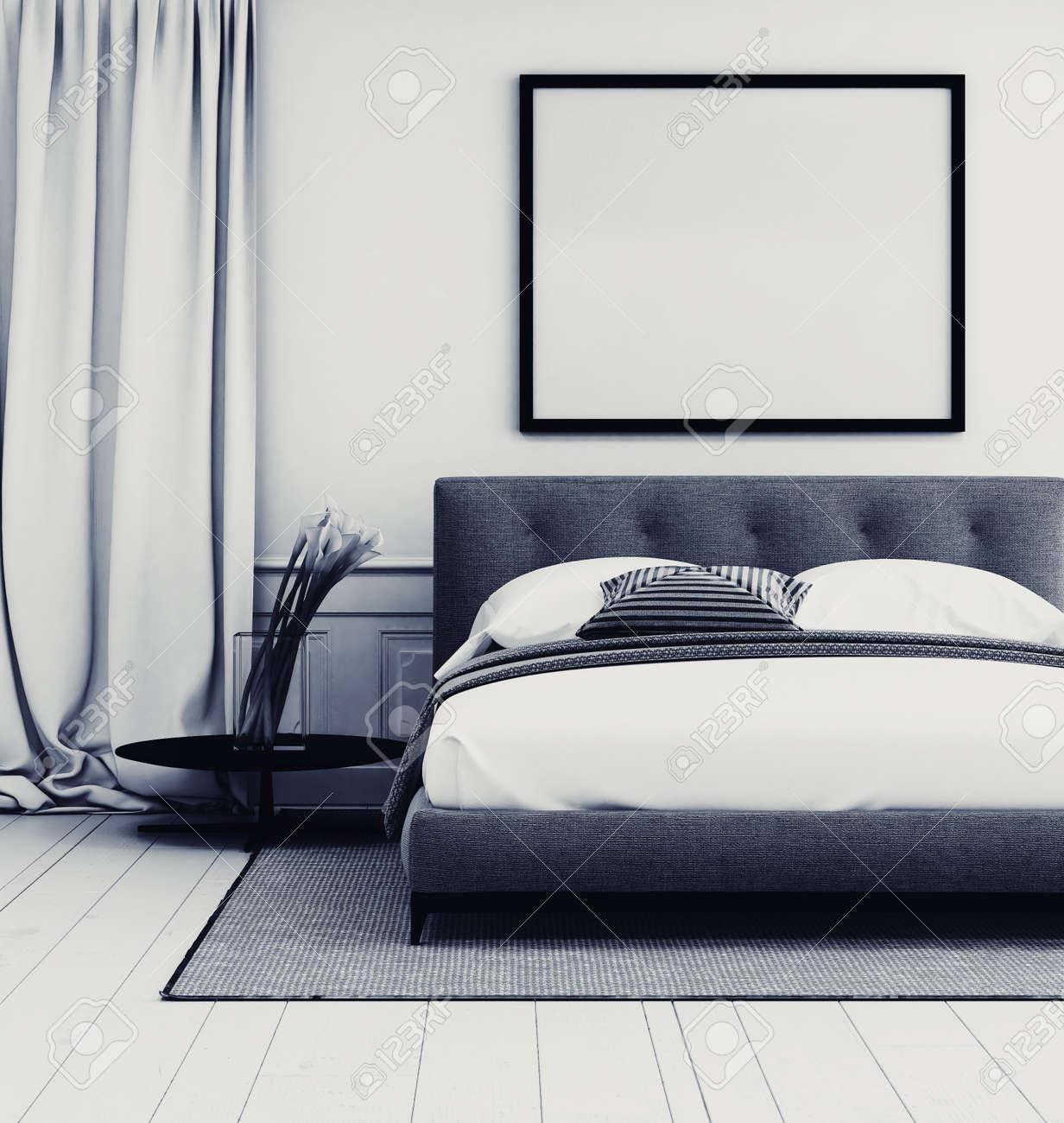 Intérieur chambre gris et blanc élégant avec gros plan détail d\'un lit  double rembourrés et tapis en dessous d\'un cadre photo grand blanc avec ...