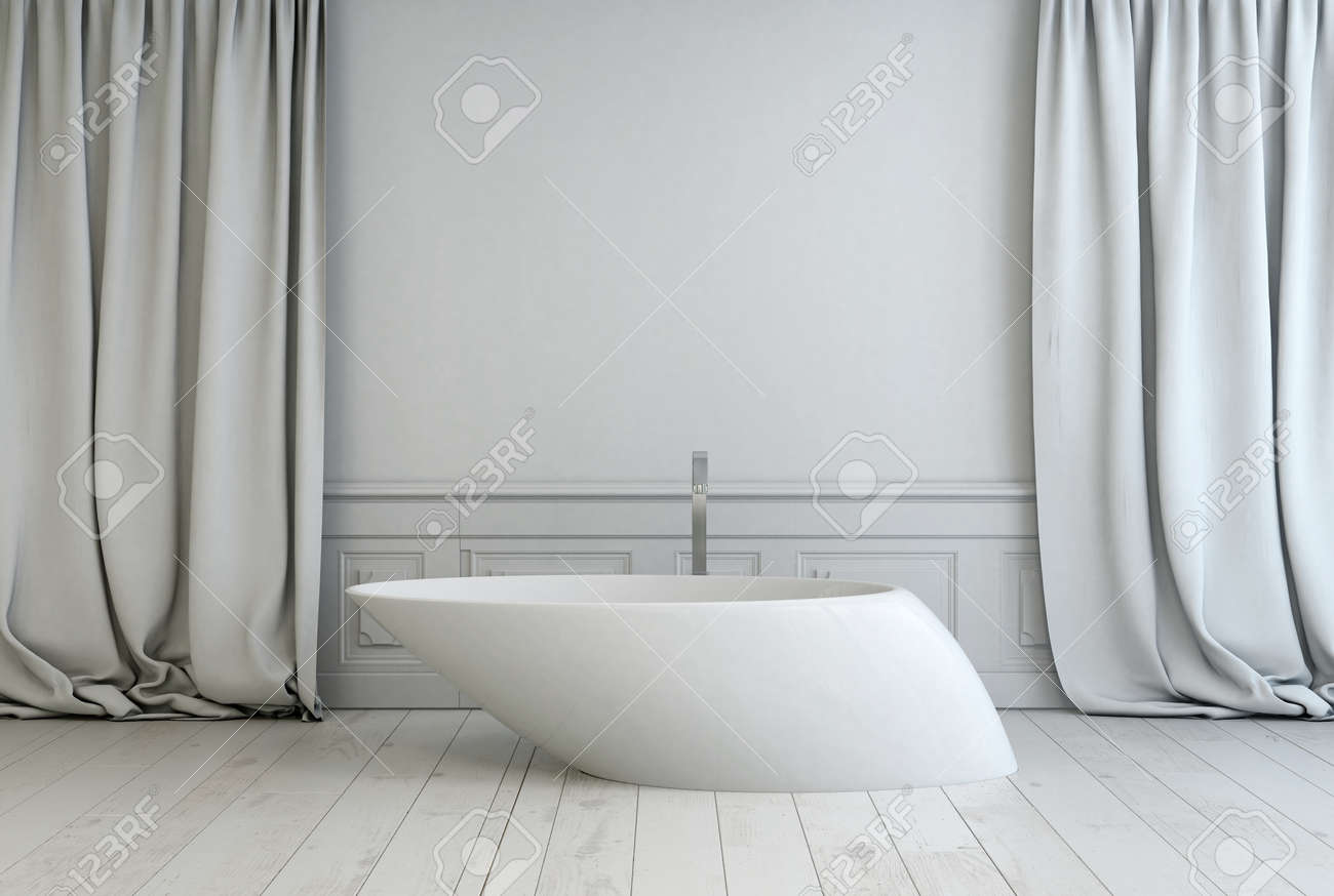 contemporary freestanding white bath tub with an angled design contemporary freestanding white bath tub with an angled design in a modern monochromatic white bathroom with