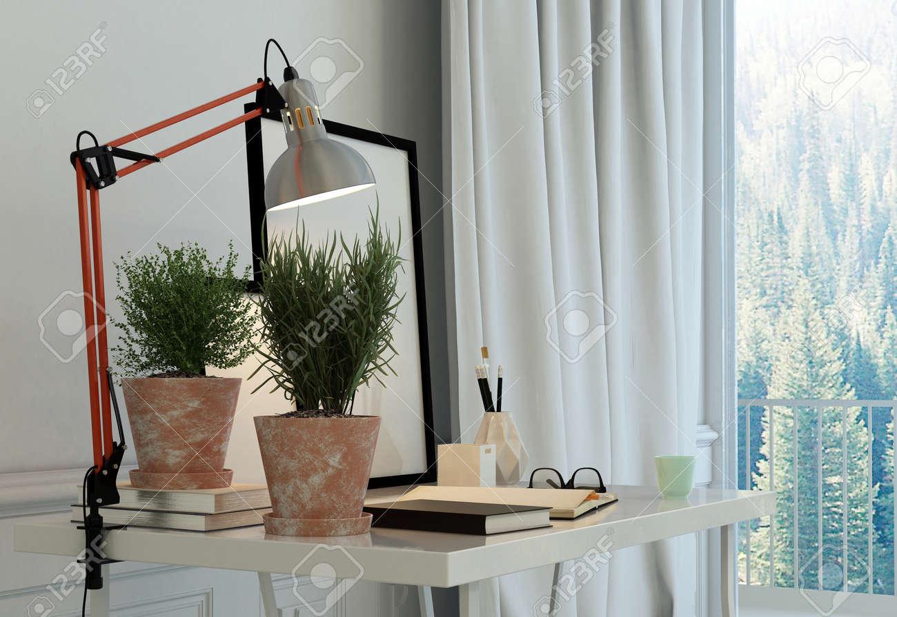 Schreiben Ecke In Einem Luxus-Wohnzimmer Mit Einem Einfachen Tisch ...