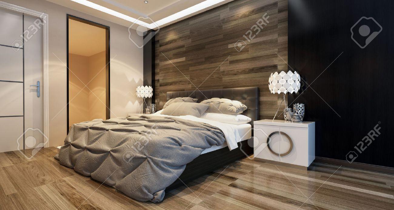 inter chambre moderne avec un éclairage zénithal et un lit élégant