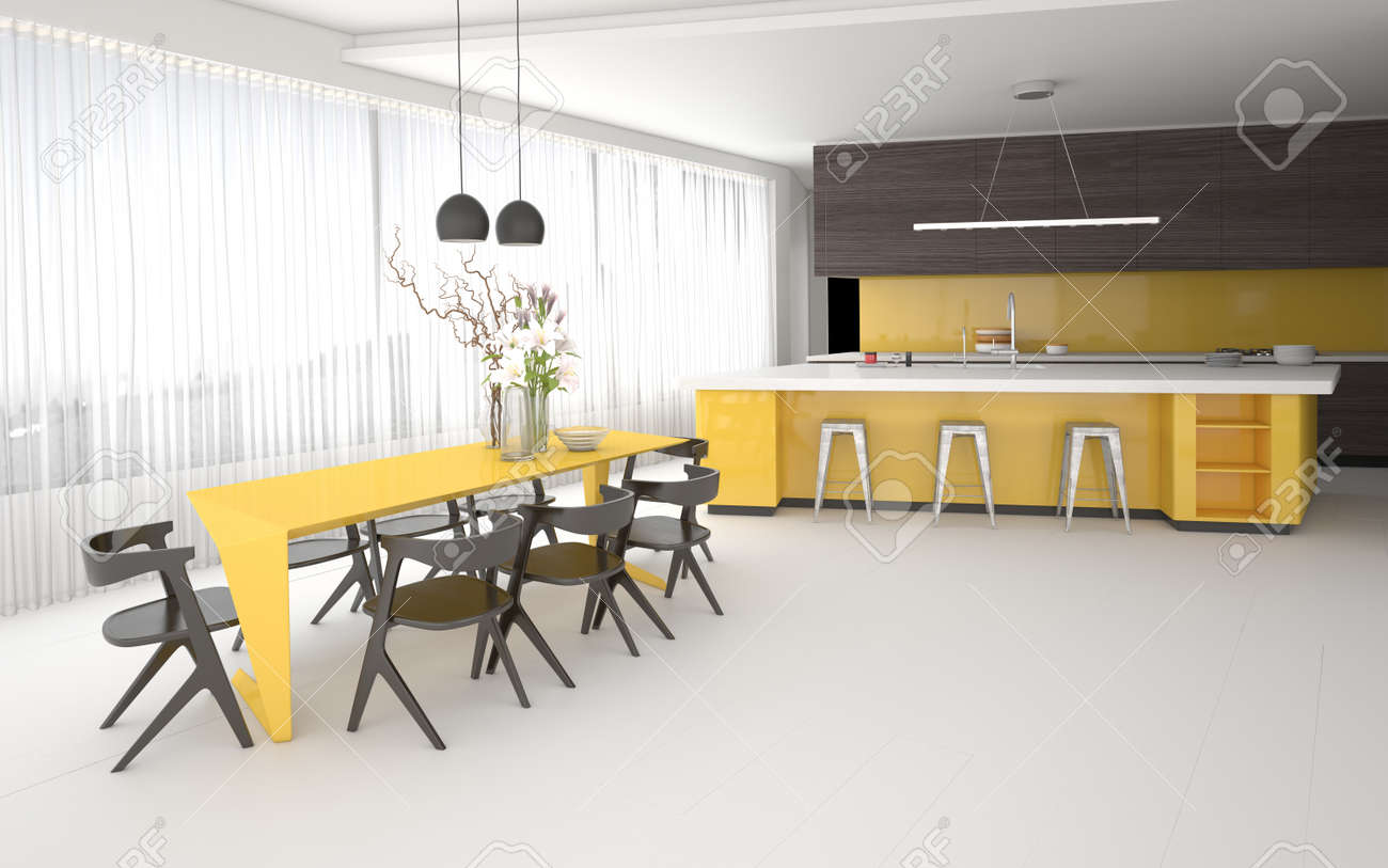 Luxury Elegant Yellow And Grey Kitchen Dining Room Interior With A Spacious Open Plan